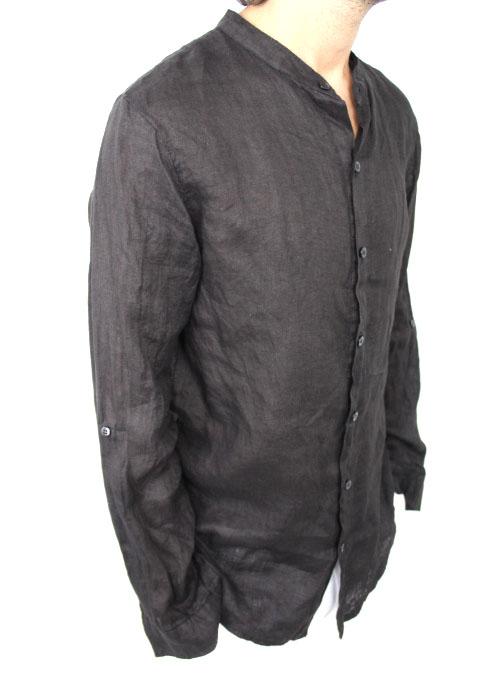 size 40 30bc1 8bfca Camicia in lino collo coreana NERA